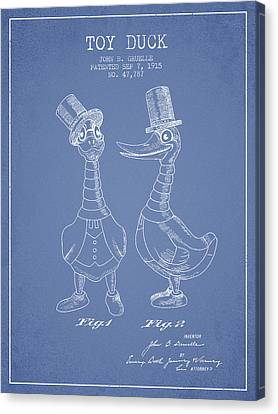 Toy Duck Patent From 1915 - Male - Light Blue Canvas Print by Aged Pixel