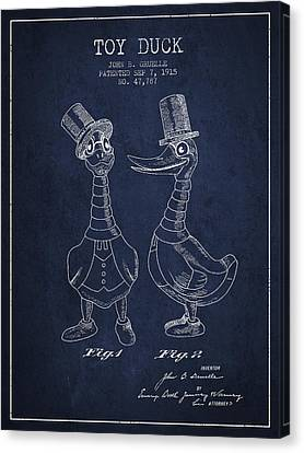 Toy Duck Patent From 1915 - Male - Navy Blue Canvas Print by Aged Pixel