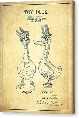 Toy Duck Patent From 1915 - Male - Vintage Canvas Print by Aged Pixel