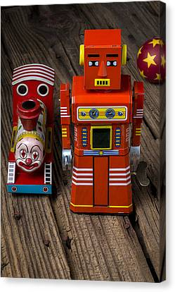 Toy Robot And Train Canvas Print by Garry Gay