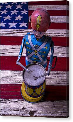Toy Tin Drummer Canvas Print by Garry Gay
