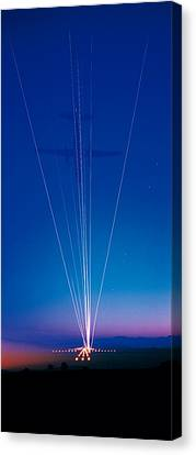 Track Lights Zurich Airport Switzerland Canvas Print by Panoramic Images
