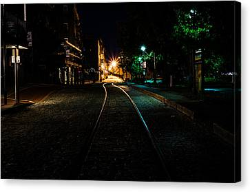 Tracks On The Riverwalk In Savannah  Canvas Print by Anthony Doudt