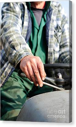 Tractor Driver. Canvas Print by Ian  Francis
