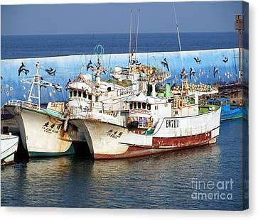 Traditional Chinese Fishing Boats Canvas Print by Yali Shi