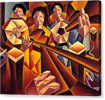 Traditional Irish Music Session  With Structured Musicians Canvas Print by Alan Kenny