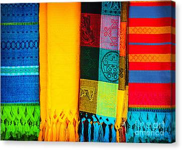 Traditional Mexican Neckerchief Canvas Print by Anna Om