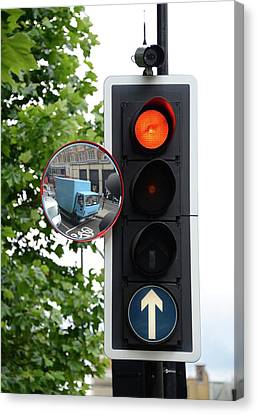 Traffic Lights And Mirror Canvas Print by Cordelia Molloy