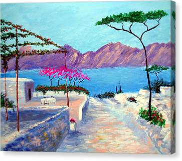 Trails Of Greece Canvas Print by Larry Cirigliano