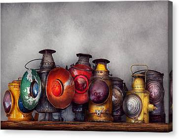 Train - A Collection Of Rail Road Lanterns  Canvas Print by Mike Savad