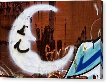 Train Art Man In The Moon Canvas Print by Carol Leigh