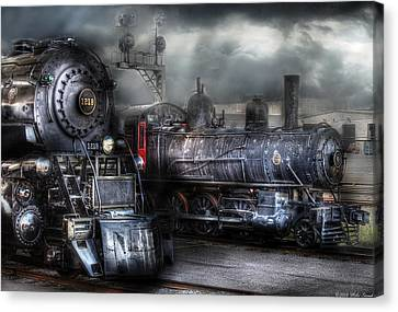 Train - Engine - 1218 - Waiting For Departure Canvas Print by Mike Savad