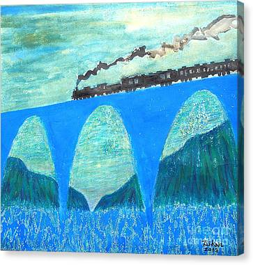 Train For A New World By Taikan Canvas Print by Taikan Nishimoto