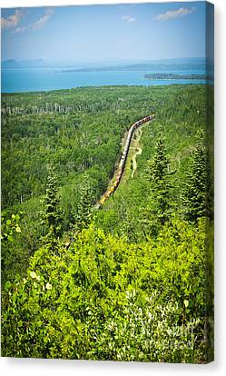 Train In Northern Ontario Canvas Print by Elena Elisseeva