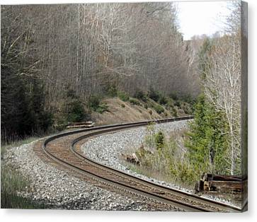 Train It Coming Around The Bend Canvas Print by Brenda Brown