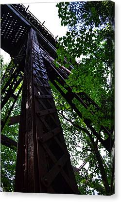 Train Trestle In The Woods Canvas Print by Michelle Calkins