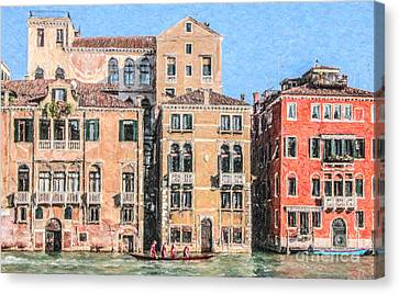 Training On The Grand Canal Canvas Print by Liz Leyden