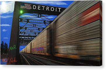 Trains Of Detroit Canvas Print by Michael Rucker