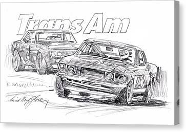 Trans Am Racing Mustang Canvas Print by David Lloyd Glover