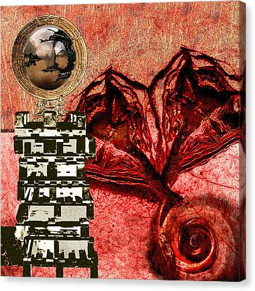 Transfusion Into A Wooden Heart Canvas Print by Maria Jesus Hernandez