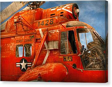Transportation - Helicopter - Coast Guard Helicopter Canvas Print by Mike Savad