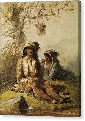 Trappers Canvas Print by Alfred Jacob Miller