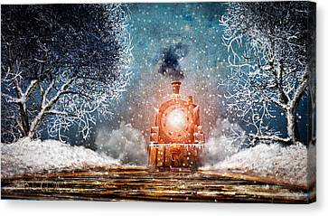 Traveling On Winters Night Canvas Print by Bob Orsillo