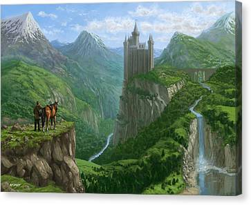 Traveller In Landscape With Distant Castle Canvas Print by Martin Davey