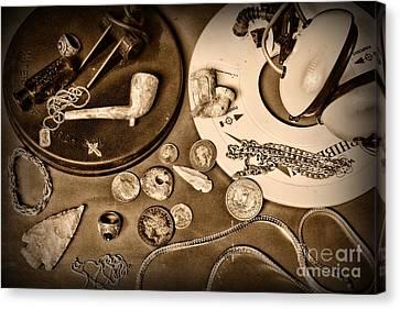 Treasure Hunter -  Metal Detecting - Black And White Canvas Print by Paul Ward