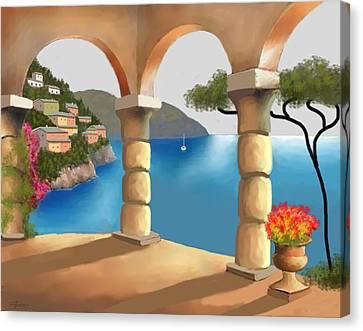 Treasures Of Amalfi Canvas Print by Larry Cirigliano
