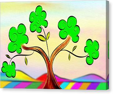 Tree On Rainbow Colored Landscape - Whimsical Artwork Canvas Print by Gina Lee Manley