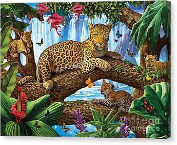 Tree Top Leopard Family Canvas Print by Steve Crisp
