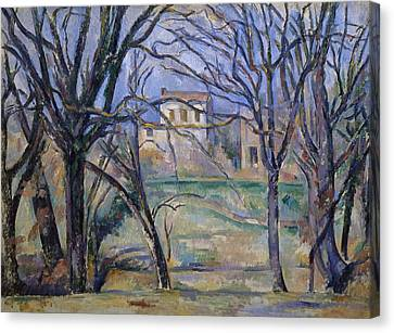 Trees And Houses, 1885-86 Canvas Print by Paul Cezanne