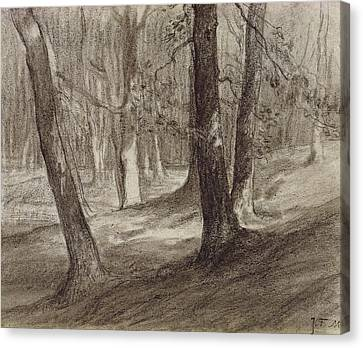 Trees In A Forest Canvas Print by Jean-Francois Millet