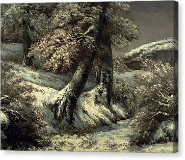 Trees In The Snow Canvas Print by Gustave Courbet