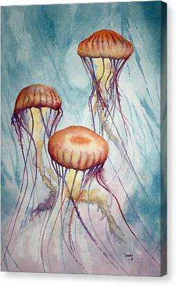Tres Jellyfish Canvas Print by Jeff Lucas