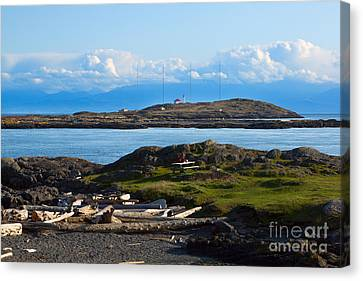 Trial Island And The Strait Of Juan De Fuca Canvas Print by Louise Heusinkveld