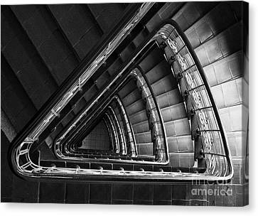 Triangle Staircaise In Bw Canvas Print by Jaroslaw Blaminsky