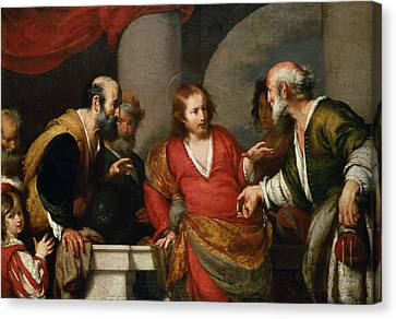 Tribute Money, C.1631 Oil On Canvas Canvas Print by Bernardo Strozzi