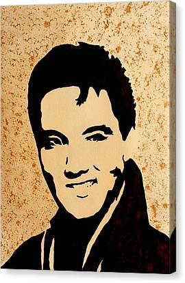 Tribute To Elvis Presley Canvas Print by Georgeta  Blanaru