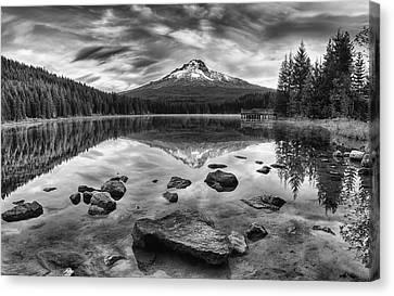 Trillium Lake Black And White Canvas Print by Mark Kiver