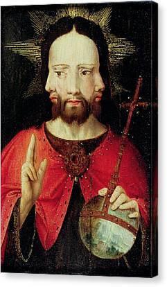 Trinitarian Christ, C.1500 Oil On Panel Canvas Print by Flemish School