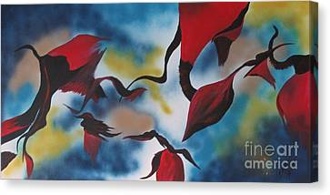 Triphids In Red Canvas Print by Barbara Petersen