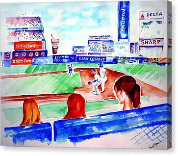 Triple Play At Shea Canvas Print by Sandy Ryan