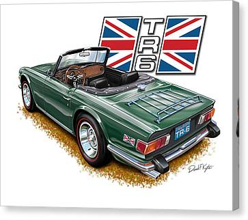 Triumph Tr-6 British Racing Green Canvas Print by David Kyte