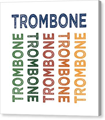Trombone Cute Colorful Canvas Print by Flo Karp