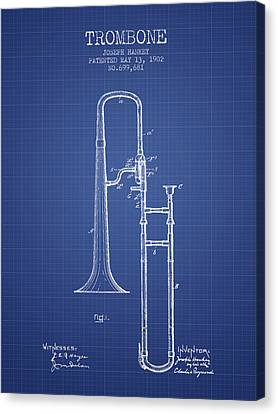 Trombone Patent From 1902 - Blueprint Canvas Print by Aged Pixel