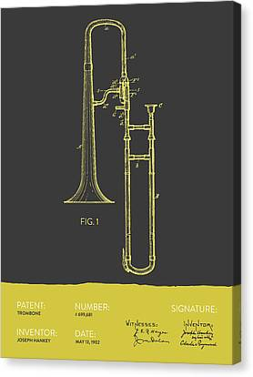 Trombone Patent From 1902 - Modern Gray Yellow Canvas Print by Aged Pixel