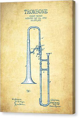 Trombone Patent From 1902 - Vintage Paper Canvas Print by Aged Pixel