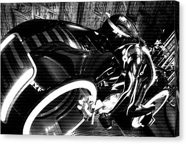 Tron Motor Cycle Canvas Print by Michael Hope